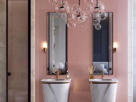 """Дизайн интерьера в Уфе """"Розовые стильные ванные комнаты"""""""
